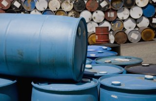 hazardous waste barrels in oklahoma city awaiting disposal